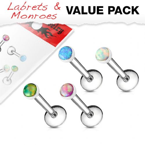 4 Pack of Internally Thread Opal Top Labret Studs